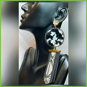 🏷 🆕 Noir Snake Print & Acrylic Drop Earrings
